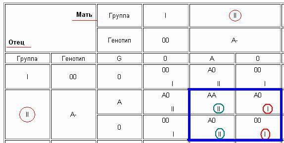 """В таблице показано,что у родителей с 2+ могут быть дети,как с 2+ ,так и с 1+.  Таблица  """"Наследование групп крови у..."""