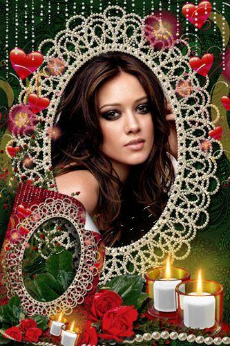 Рамка для Photoshop - Розы и свечи