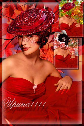 Женский шаблон для Photoshop - Леди в красном