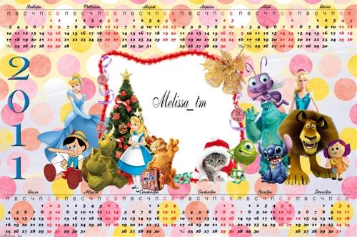 Детский календарь на 2011 Герои Мультфильмов