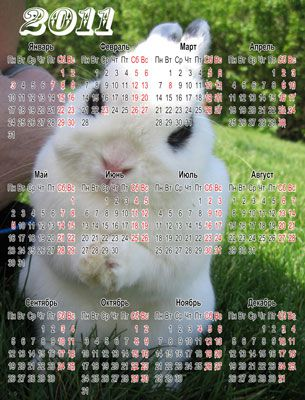 Календарь 2011-Год белого кролика(Rus/Eng)