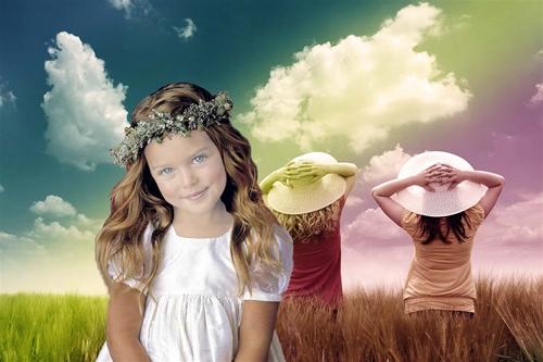 """Детский шаблон для фотошопа:""""Фея природа""""."""