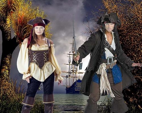 Парные шаблоны для фотошопа:Пираты.