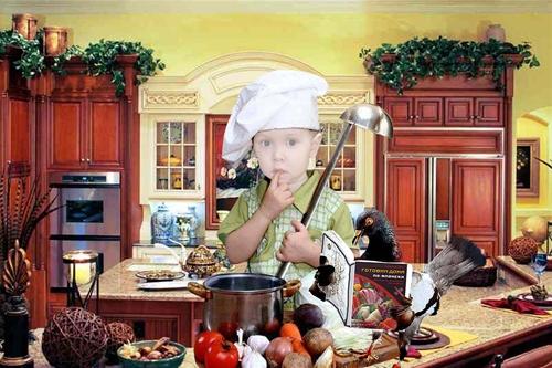 Детский шаблон для фотошопа:Маленький повар.