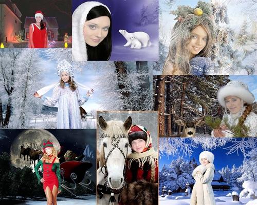 женские шаблоны для фотошопа:Снегурочки.