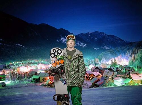 мужской шаблон для фотошоп: Сноубордист.