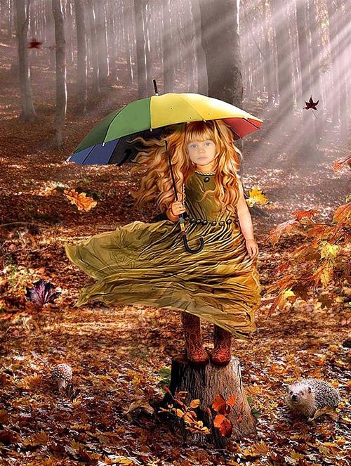 Детские шаблоны для фотошопа:Маленькая леди осень.