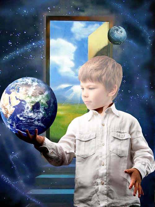 Детский шаблон для фотошопа: Звездный мальчик.