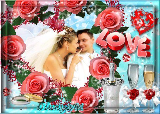 Свадебная рамка для фото - Розы и шампанское