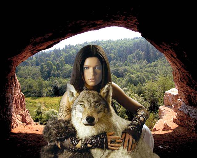 шаблон для фотошопа: Волчица.