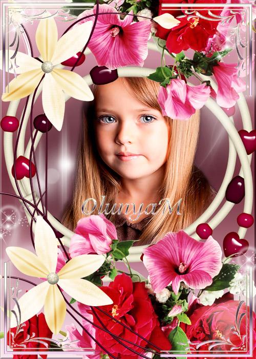 Рамка для фото - С цветами и сердечками