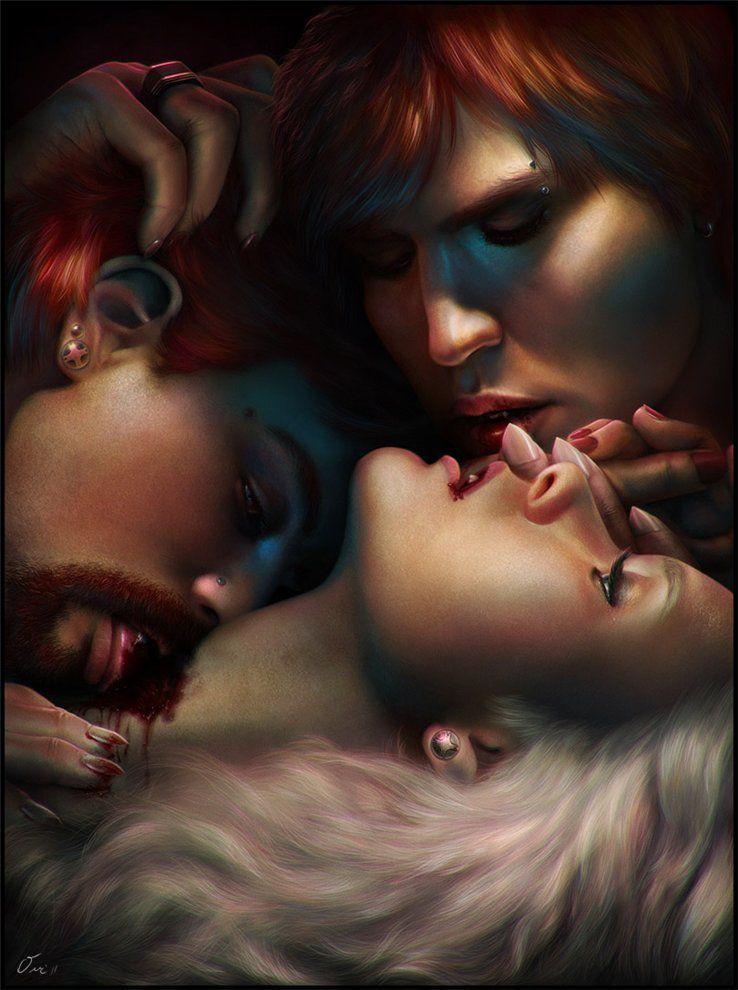 Картинки вампиров парень кусает девушку