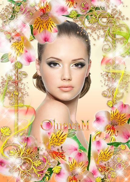 Женская рамка для фото - В цветах и золоте