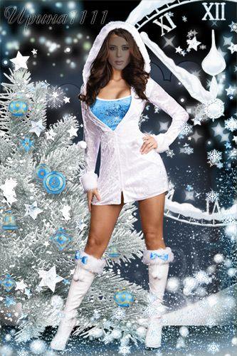 Женский шаблон для фотошоп  - Снегурочка