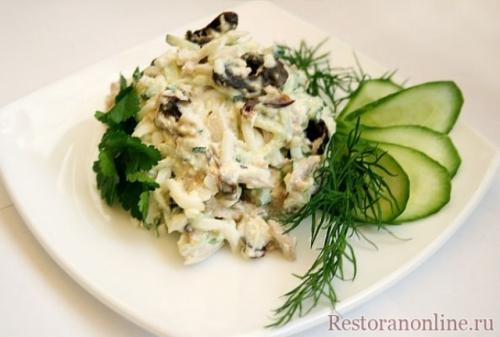 Салат нежный рецепт с курицей и грибами