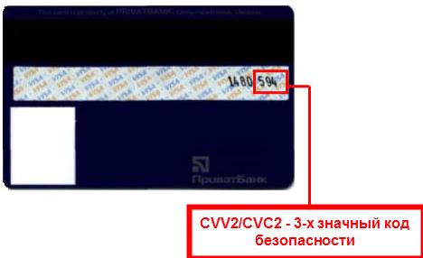 Где находиться код безопасности на карте приватбанка