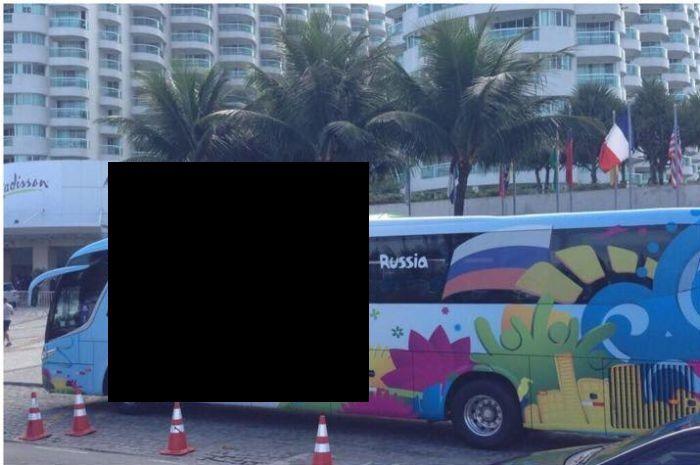 Автобус сборной России на ЧМ2014 по футболу в Бразилии