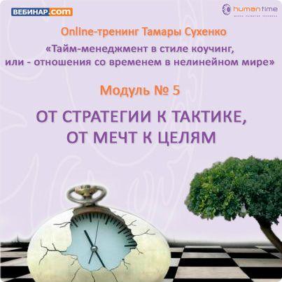 Тайм-менеджмент в стиле коучинг или - отношения со временем в нелинейном мире (модуль 5)