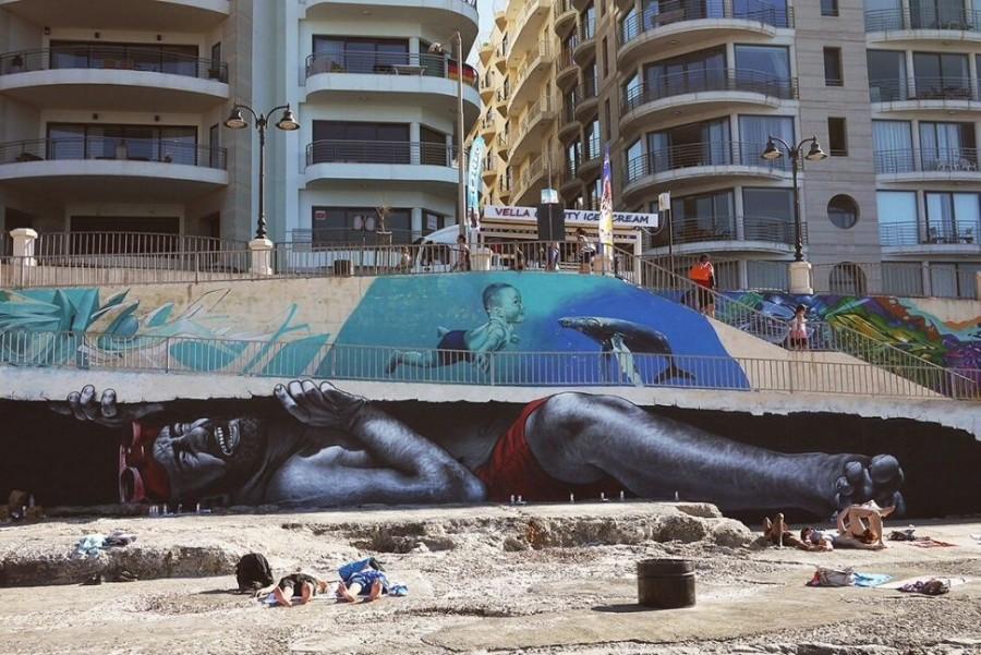 Стрит-арт на пляже