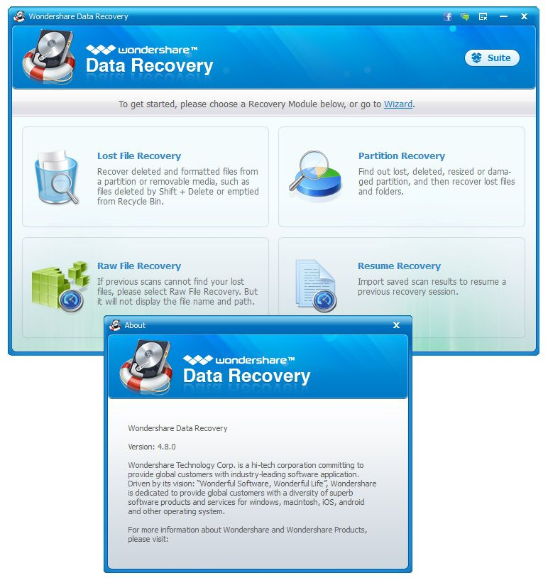 Wondershare Data Recovery 4.8.0.4