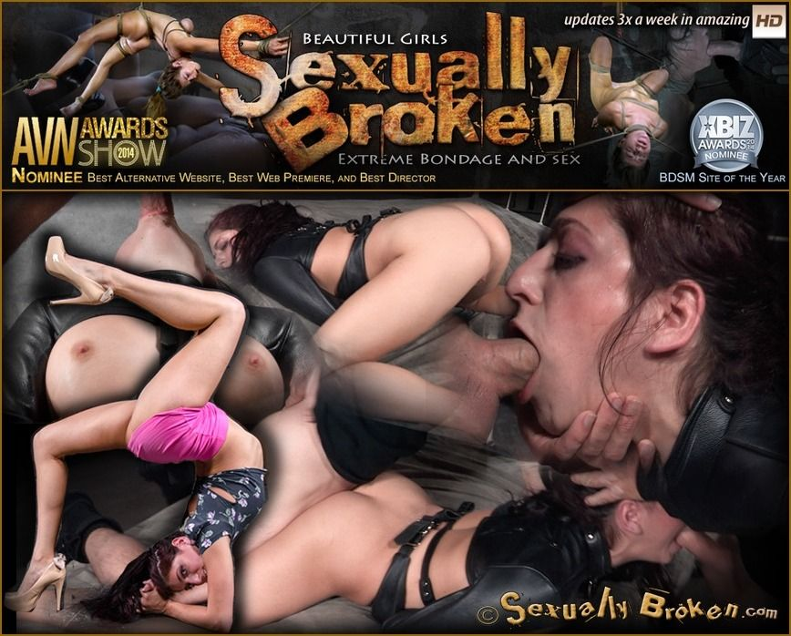 Nikki Knightly / Bound in straightjacket and ragdoll fucked without mercy by two cocks (2015)