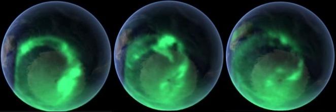 Aurora Australis Южной Полярной показывает открытие полой Земли