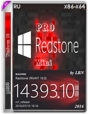 Windows 10 Pro 14393.10 Mini v2 Lopatkin (x86-x64) (2016) Rus
