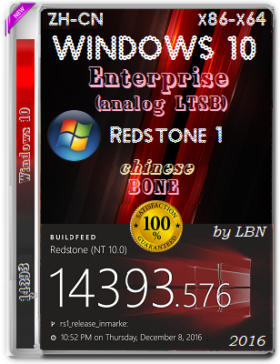 Windows 10 Enterprise 14393.576 BONE by Lopatkin (x86/x64) (2016) ZH-CN