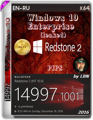 Windows 10 Enterprise (leaked) 14997.1001 rs2 PIPS by Lopatkin (x64) (2016) Rus/Eng