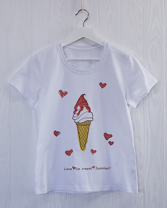 FW1W-M0020 Женская футболка белая с принтом Любовь Мороженное Лето.jpg