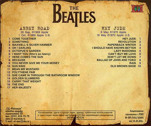 BEATLES - Abbey Road/ Hey Jude (2lp's In 1cd(original Green Apple Sleeve On Disc))