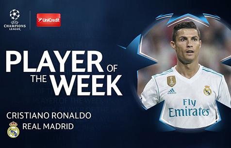 Роналду признан игроком недели в Лиге Чемпионов
