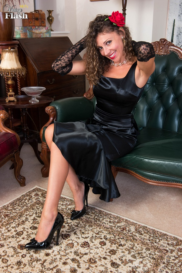 [VintageFlash.com] 2017.11.14 French Chloe - Black satin aperitif! [2017 г., Basque, Brown Nylons, Brunette, Corset, Full Fashioned, Hairy, Masturbation, Mature, Medium Tits, Milf, Seamed, Stilettos, 1080p]