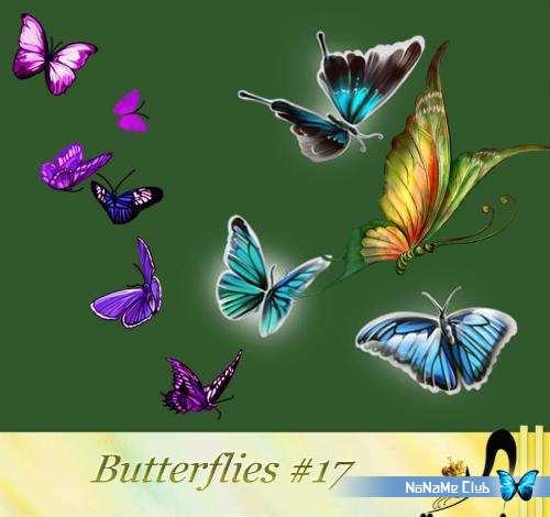 Растровый клипарт - Butterflies #17 [PNG]