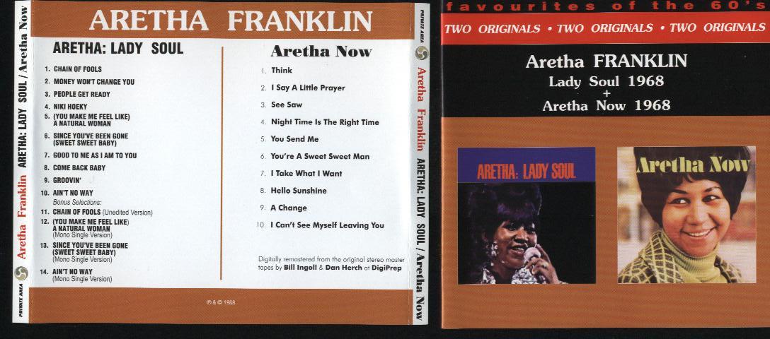 FRANKLIN, ARETHA Lady Soul/ Aretha Now + 4bonus trk(2LP's in 1CD)