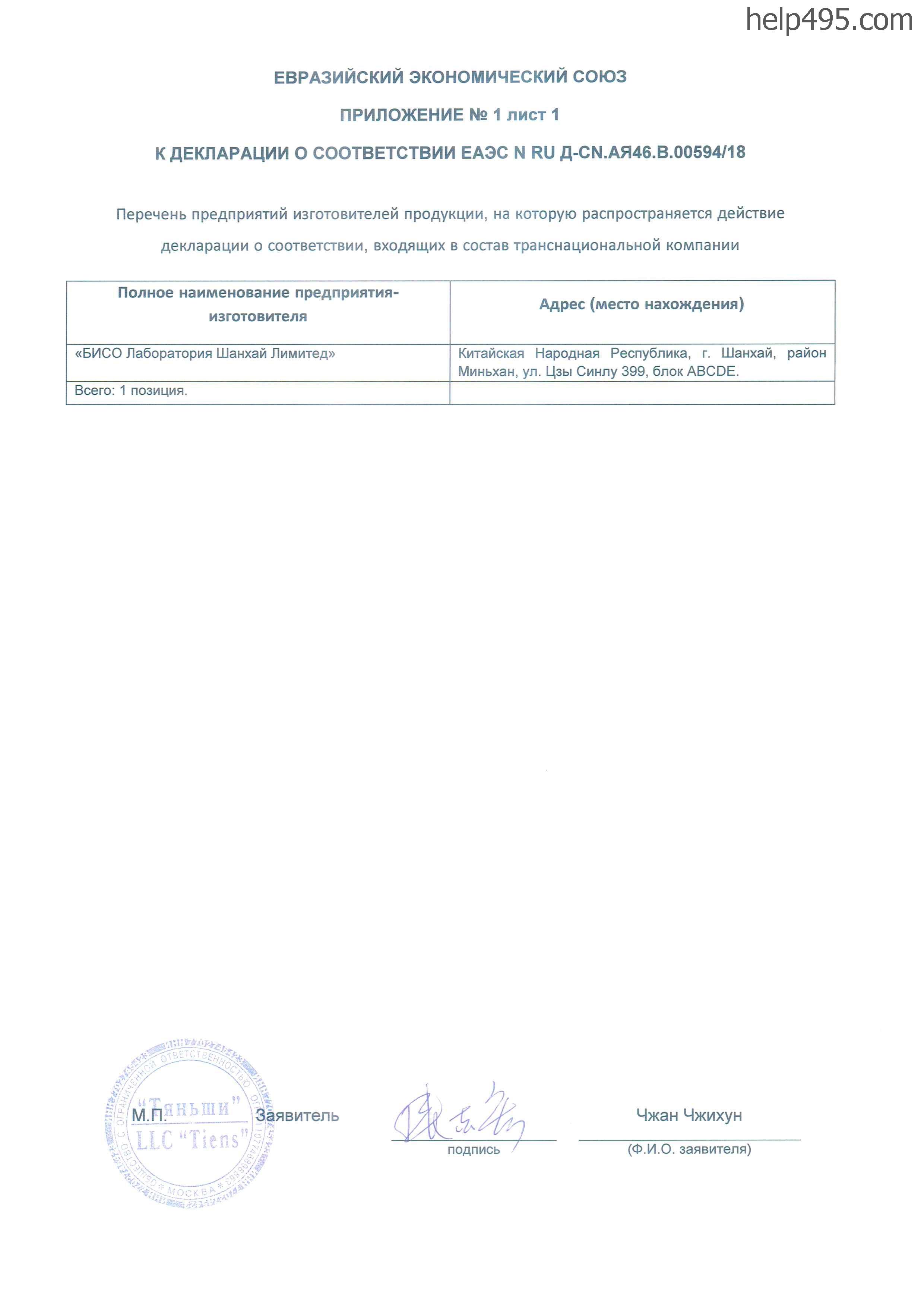 Приложение 1 к Декларации о соответствии средства Увлажняющий крем с экстрактами морских водорослей и дрожжей CELLES TIANE