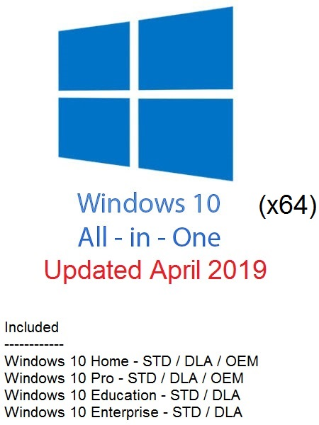 Windows 10 Redstone 5 AIO (10-in-1) ESD En-US (x64) April 2019