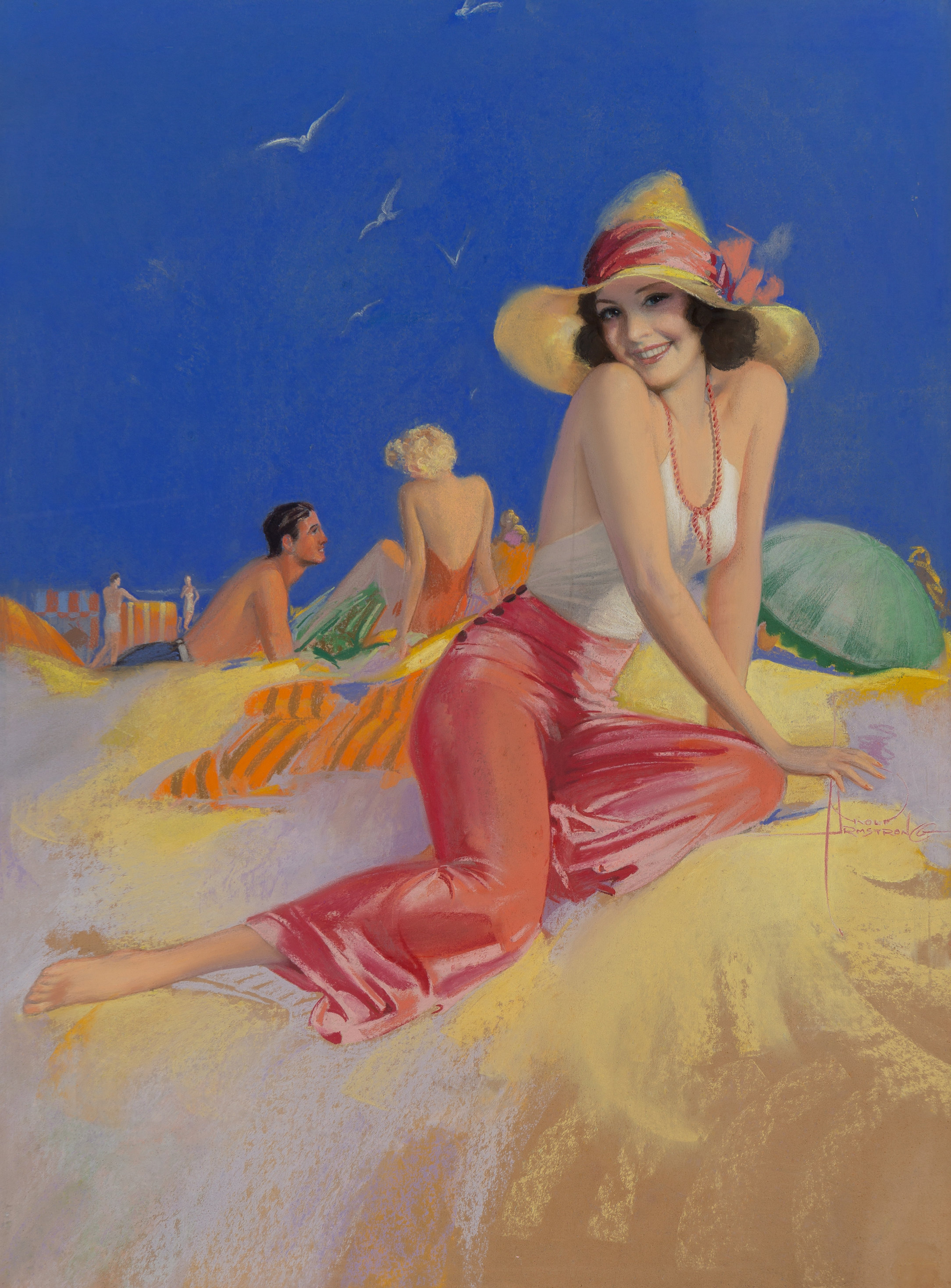 Bathing Beauty in Sun Hat, circa late 1930s-40s.jpg
