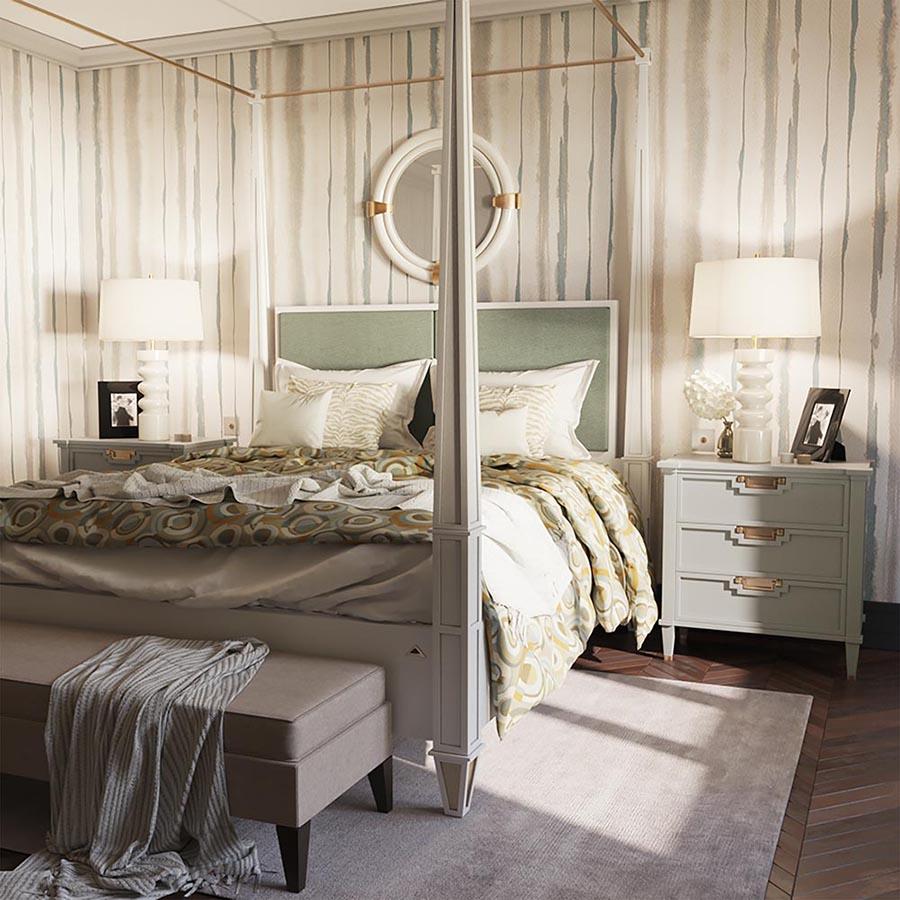 Кровать K018, тумба T018 и зеркало AX001