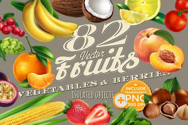 Сборник - Creative Market - 82 Fruits, Berries and Vegetables - 2004092 [PNG, JPG, AI, EPS]