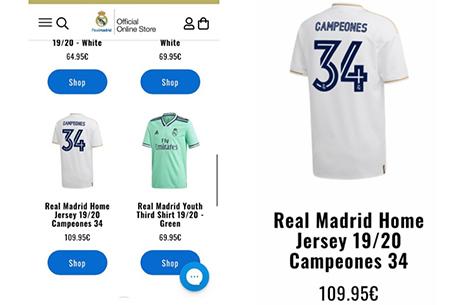 """Marca: """"Мадрид"""" по ошибке начал продажу футболок с цифрой """"34"""" в честь победы в Ла Лиге"""