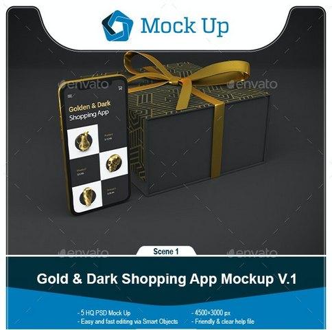 Шаблоны - GraphicRiver - Gold & Dark Shopping App V.1 Mockup - 28759713 [PSD]