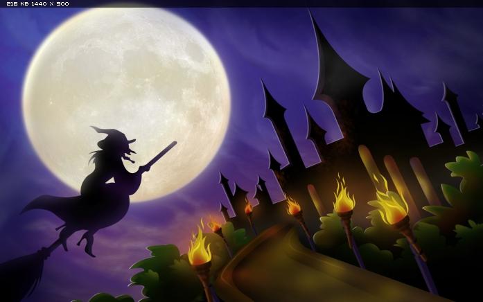 Хеллоуин, Летящая ведьма фото, обои.
